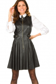 Ibana |  Leather dress Dalies | black  | Picture 4