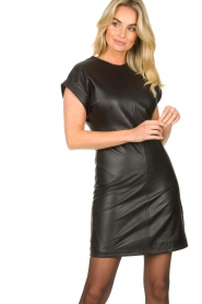 Ibana |  Leather dress Deborah | black   | Picture 2