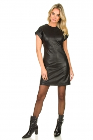 Ibana |  Leather dress Deborah | black   | Picture 3