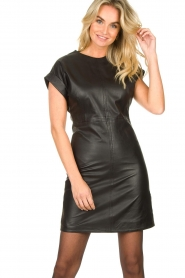 Ibana |  Leather dress Deborah | black   | Picture 4