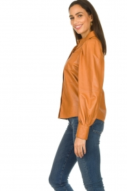 Ibana |  Leather blouse Talia Camel  | Picture 6