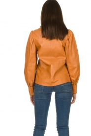 Ibana |  Leather blouse Talia Camel  | Picture 7
