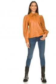 Ibana |  Leather blouse Talia Camel  | Picture 3
