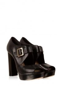 MICHAEL Michael Kors | Leren platform sandalen Eleni | zwart  | Afbeelding 3