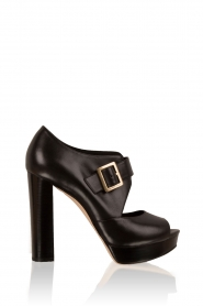 Leather platform sandals Eleni | black