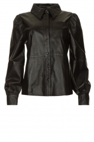 Ibana |  Leather blouse Talia | black  | Picture 1