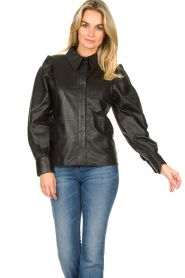 Ibana |  Leather blouse Talia | black  | Picture 2