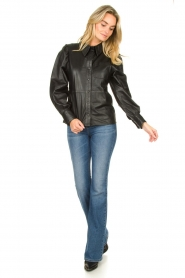 Ibana |  Leather blouse Talia | black  | Picture 3