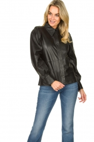 Ibana |  Leather blouse Talia | black  | Picture 4