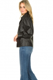 Ibana |  Leather blouse Talia | black  | Picture 5