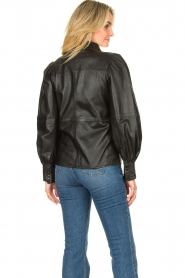 Ibana |  Leather blouse Talia | black  | Picture 6
