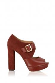MICHAEL Michael Kors | Leren platform sandalen Eleni | roodbruin  | Afbeelding 1