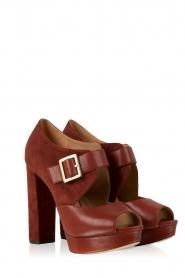 MICHAEL Michael Kors | Leren platform sandalen Eleni | roodbruin  | Afbeelding 3