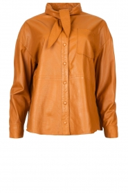 Ibana |  Leather blouse with bow tie Tracy | camel  | Picture 1