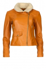 Ibana |  Leather biker jacket with teddy collar Bibi | camel  | Picture 1