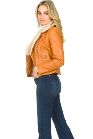 Ibana |  Leather biker jacket with teddy collar Bibi | camel  | Picture 5
