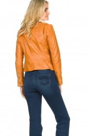 Ibana |  Leather biker jacket with teddy collar Bibi | camel  | Picture 6