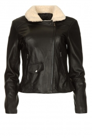 Ibana |  Leather biker jacket with teddy collar Bibi | black  | Picture 1