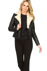Ibana |  Leather biker jacket with teddy collar Bibi | black  | Picture 4