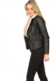 Ibana |  Leather biker jacket with teddy collar Bibi | black  | Picture 5