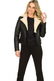 Ibana |  Leather biker jacket with teddy collar Bibi | black  | Picture 2
