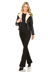 Ibana |  Leather biker jacket with teddy collar Bibi | black  | Picture 3