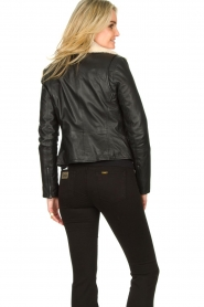 Ibana |  Leather biker jacket with teddy collar Bibi | black  | Picture 6