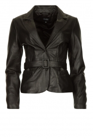 Ibana |  Belted leather blazer Jazlyn | black  | Picture 1