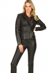 Ibana |  Belted leather blazer Jazlyn | black  | Picture 2