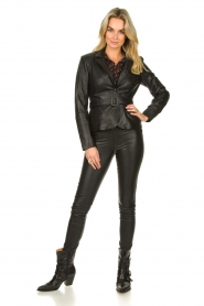 Ibana |  Belted leather blazer Jazlyn | black  | Picture 3