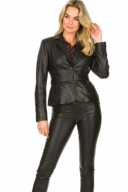 Ibana |  Belted leather blazer Jazlyn | black  | Picture 4