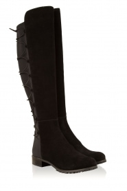 MICHAEL Michael Kors | Suede over-the-knee laars Skye | zwart  | Afbeelding 3
