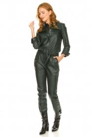 Ibana |  Leather jumpsuit Jolinde | dark green  | Picture 3