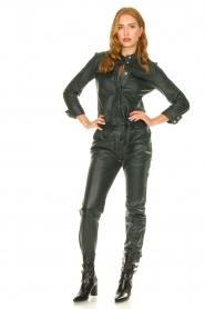 Ibana |  Leather jumpsuit Jolinde | dark green  | Picture 4
