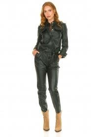 Ibana |  Leather jumpsuit Jolinde | dark green  | Picture 2