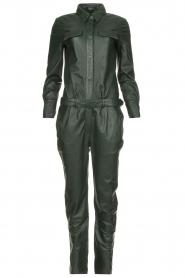 Ibana |  Leather jumpsuit Jolinde | dark green  | Picture 1