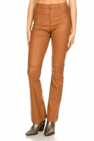 Ibana |  Leather flared pants Pearl | camel  | Picture 6