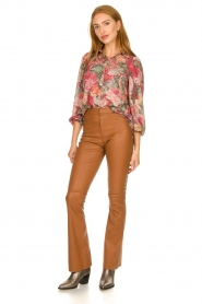 Ibana |  Leather flared pants Pearl | camel  | Picture 2