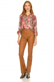 Ibana |  Leather flared pants Pearl | camel  | Picture 3