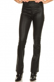 Ibana |  Leather flared pants Pearl | black  | Picture 4
