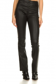 Ibana |  Leather flared pants Pearl | black  | Picture 3