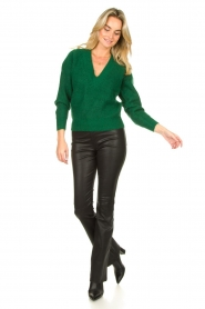Ibana |  Leather flared pants Pearl | black  | Picture 2