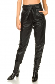 Ibana |  Leather pants Paula | black  | Picture 4