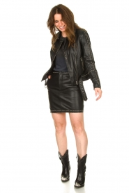 Ibana |  Studded leather skirt Sharon | black  | Picture 3