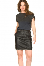 Ibana |  Studded leather skirt Sharon | black  | Picture 2