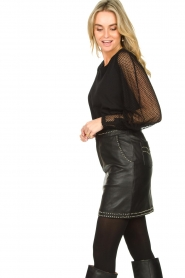 Ibana |  Studded leather skirt Sharon | black  | Picture 5