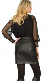 Ibana |  Studded leather skirt Sharon | black  | Picture 6