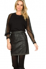 Ibana |  Studded leather skirt Sharon | black  | Picture 4