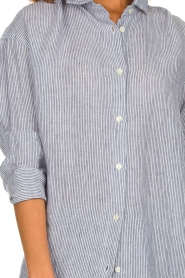 Blaumax |  linen blouse with striped Marylou | blue  | Picture 7