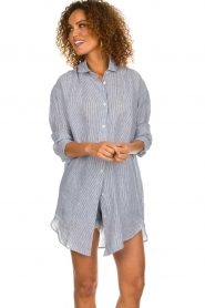 Blaumax |  linen blouse with striped Marylou | blue  | Picture 4